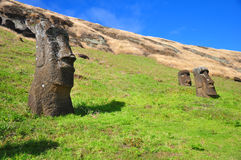 Begraven Moai op het Eiland van Pasen Stock Afbeelding