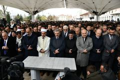 Begravning av journalisten Jamal Khashoggi royaltyfri fotografi