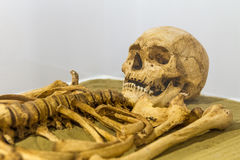 begravningen återstår med den mänskliga skallen och benet Royaltyfri Foto