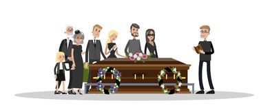 Begravnings- ceremoni på kyrkogården royaltyfri illustrationer