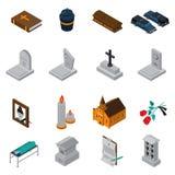 Begravnings- isometrisk symbolsuppsättning stock illustrationer