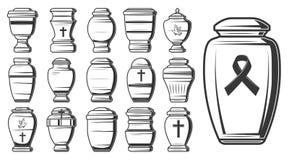 Begravnings- kremeringurnor, columbariumkrus eller vaser royaltyfri illustrationer