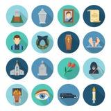 Begravnings- symbolsuppsättning royaltyfri illustrationer