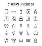 Begravnings- symbolsuppsättning vektor illustrationer