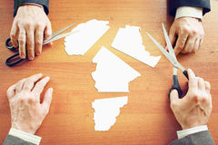 Begrepp av ändring de politiska villkoren i Afrika Arkivfoton
