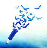 Begrepp av abstrakt begreppblåttblyertspennan med fåglar Fotografering för Bildbyråer