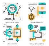Begrepp av advertizingforskning, internetmarknadsföring stock illustrationer