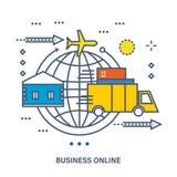 Begrepp av affären direktanslutet, e-komrets och leveransen royaltyfri illustrationer