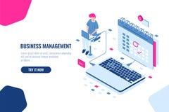 Begrepp av affärschefen, schema i kalender, viktig angelägenhet för fläck och händelse på kalendern, online-uppgift stock illustrationer