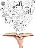 Begrepp av affärsutbildning kvinnlig hand som rymmer en öppen bok Royaltyfria Bilder
