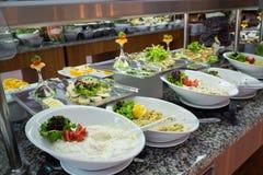 Begrepp av All-inklusive buffé-stil för mat i Turkiet Royaltyfri Foto