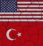 Begrepp av Amerikas förenta stater- och Turkiet handelkrig royaltyfria bilder