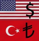 Begrepp av Amerikas förenta stater- och Turkiet handelkrig royaltyfria foton