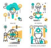 Begrepp av analys, nyckel- person stock illustrationer