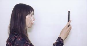 Begrepp av ansikts- erkännande stock video