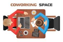 Begrepp av arbetsplatser i coworking utrymme f?r tv? personer Två flickor på skrivbordet stock illustrationer