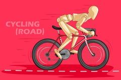 Begrepp av att cykla med den trämänskliga skyltdockan Royaltyfri Fotografi