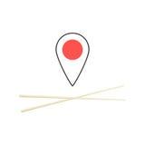 Begrepp av att finna sushistången stock illustrationer