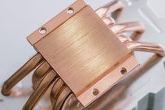 Begrepp av att kyla för luft av den centrala processorn av ett Aluminum element för dator med kopparvärme royaltyfri fotografi