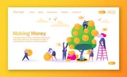 Begrepp av att landa sidan på finanstema Framställning av pengaraffärsinvestering med plana folktecken Kvinna som bevattnar penga royaltyfri illustrationer