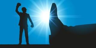 Begrepp av befrielsen av en man i framsidan av missbruket av myndighet vektor illustrationer