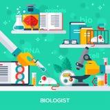 Begrepp av biologarbetsplatsen Royaltyfri Foto