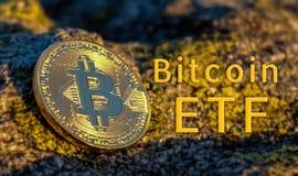 Begrepp av Bitcoin ETF ( Utbytet handlade Fund) , Börs, investering som är crypto stock illustrationer