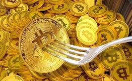 Begrepp av Bitcoin kassa Hardfork arkivfoto