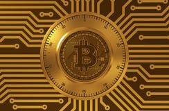 Begrepp av Bitcoin som ett elektroniskt säkerhetslås stock illustrationer