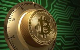Begrepp av Bitcoin som ett elektroniskt säkert lås stock illustrationer