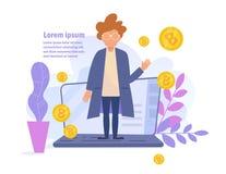 Begrepp av bitcoinonline-förtjänster Lönvektor cartoon Isolerad konst på vit bakgrund plant stock illustrationer