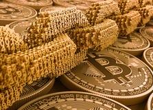 Begrepp av Blockchain Digital kedja av förbundna nummer 3D på Bitcoins stock illustrationer