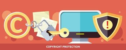 Begrepp av Copyright skydd i internet royaltyfri illustrationer