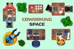 Begrepp av coworking utrymme och bekväma arbetsplatser för folk royaltyfri illustrationer