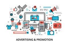 Begrepp av den advertizing-, marknadsförings- och befordranprocessen Royaltyfria Bilder