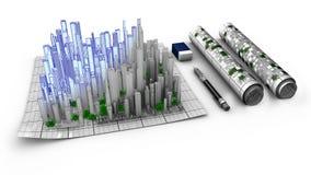 Begrepp av den arkitektoniska designen av en stad som dyker upp från översikten Royaltyfria Bilder