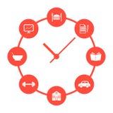 Begrepp av den dagliga rutinen med röda enkla klockor royaltyfri illustrationer