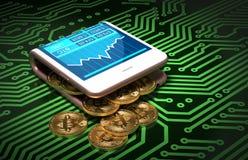 Begrepp av den Digital plånboken och Bitcoins på bräde för utskrivaven strömkrets för gräsplan stock illustrationer