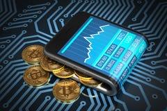 Begrepp av den Digital plånboken och guld Bitcoins på bräde för utskrivaven strömkrets vektor illustrationer