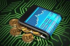 Begrepp av den Digital plånboken och guld Bitcoins på bräde för utskrivaven strömkrets för gräsplan royaltyfri illustrationer