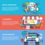 Begrepp av den digitala marknadsföringen, e-komrets och online-bankrörelsen Fotografering för Bildbyråer