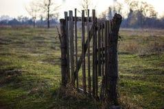 Begrepp av den enda utfarten Gammal trädörr mot ett fältlandskap arkivbild