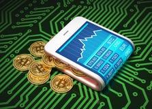 Begrepp av den faktiska plånboken och Bitcoins på bräde för utskrivaven strömkrets stock illustrationer