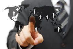 Begrepp av den globala marknaden med partners runt om världen Arkivbild
