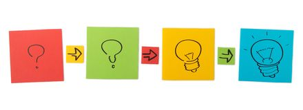 Begrepp av den idérika processen. Kulöra pappersark. Arkivfoton