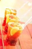 Begrepp av den lyxiga tropiska semestern Tre KubaLibre coctailar Royaltyfria Bilder