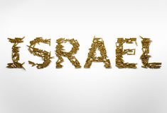 Begrepp av den militära konflikten i Israel Ord Israel som skrivas med f Arkivbilder