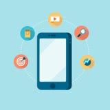 Begrepp av den mobila marknadsföringen stock illustrationer