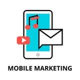 Begrepp av den mobila marknadsföringen Arkivfoton