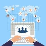 Begrepp av den modern affären och teamwork Sociala nätverk Online-kommers stock illustrationer
